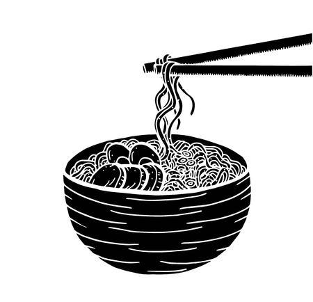 Hand drawn Japanese food sketch Illustration. Retro style. Sushi bar. Miso soup. Ramen Ilustração Vetorial