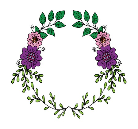 Decorative frame composition with, flowers, ornate elements in doodle style. Floral, ornate, decorative design elements