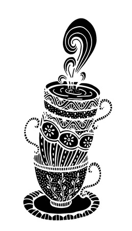 Vector hand drawn stack of cup illustration for adult coloring book. Freehand sketch for adult anti stress coloring book page with doodle