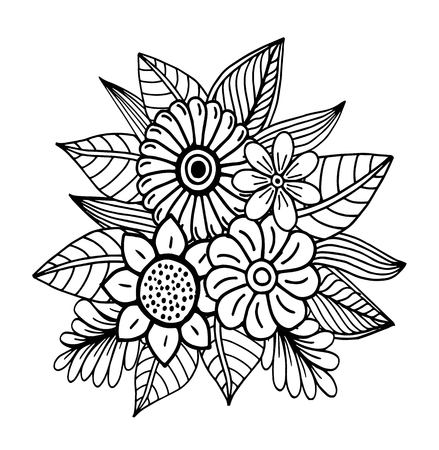 Hand drawn floral doodle. Coloring pages for book. Vector line art