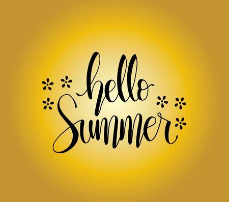 Hello summer card. Hand drawn lettering background. Ink illustration. Modern brush calligraphy, vector illustration