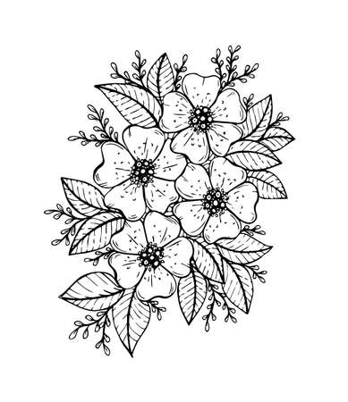 Doodle floral pattern in black and white. Page for coloring book: very interesting and relaxing job for children and adults.  drawing. Flower carpet in magic garden Illustration