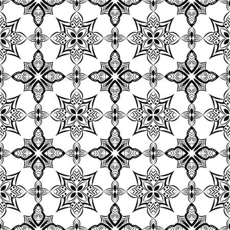 Ornamental mandala design abstract background. Seamless pattern with flowers Banque d'images - 151886389
