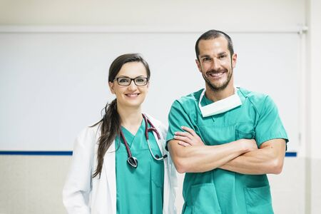 portraiture: Smiling doctor and nurse portraiture. Medical Concept