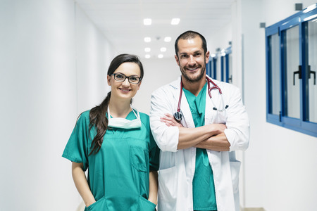 Smiling doctor and nurse portraiture. Medical Concept