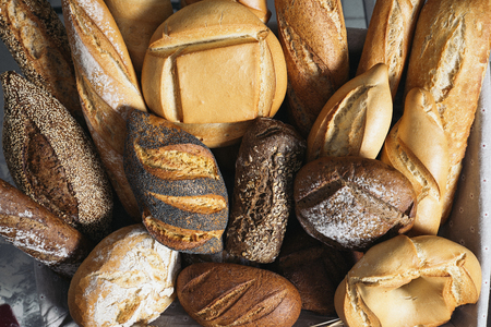 Many mixed breads and rolls. Bakery Concept
