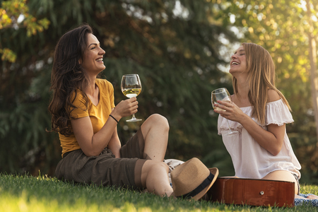 Beautiful women drinking wine in the park. Friends and summer concept. Stock Photo