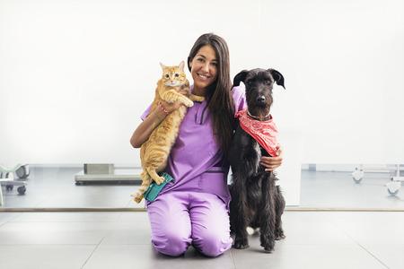 黄色の猫と犬を保持している陽気な女性獣医。獣医のコンセプトです。