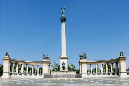 Monument on the Heroes Square in Budapest, Hungary.