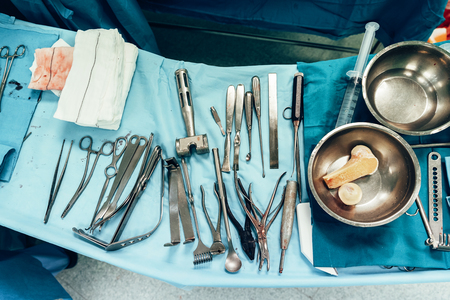 Medical tools in surgical room. Surgery concept