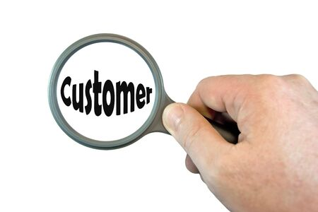hand held: Hand Held Magniying Glass over the word Customer