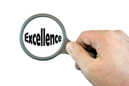 hand held: Hand Held Magnifying Glass over the word Excellence