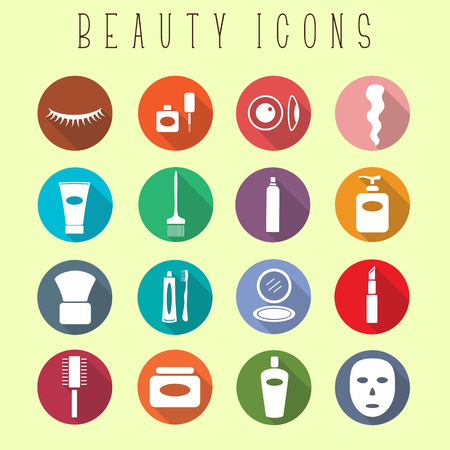 hair mask: Flat icons with long shadows. Beauty icons for web design, apps and etc.