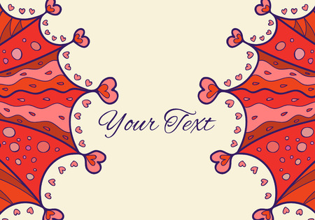 postal card: Valentines Day vector abstract  horizontal invitation or postal card with place for your text. Illustration