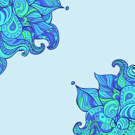 corner design: Vector doodle leaves  paisleys corner. Wavy  corner created for invitation card design, background, wallpaper, notebook wrapping. Winter style corner. Illustration