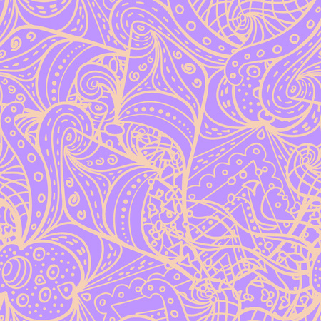 wave equality: Vector abstract doodle pattern. Seamless pattern with symmetrical elements created for wallpapers design, background, textile, wrapping.