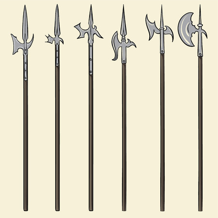 historical: Set of historical halberd weapons. Illustration with slashing weapons on a light background.
