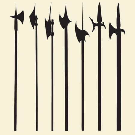 to pierce: Set of historical halberd silhouettes. Illustration with slashing weapons on a light background.