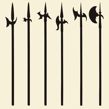 slashing: Set of historical halberd silhouettes. Illustration with slashing weapons on a light background.