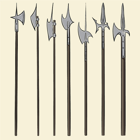 halberd: Set of historical halberd weapons. Illustration with slashing weapons on a light background.