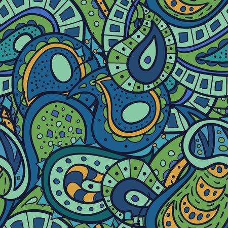 retro backgrounds: Vector paisley doodle pattern. Illustration