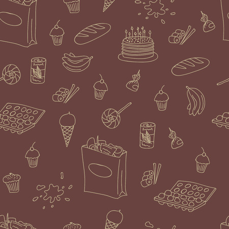 pack ice: Vector doodle food elements pattern. Doodle pattern with cooking elements hand drawn for web design, textile design, wallpapers and backgrounds.