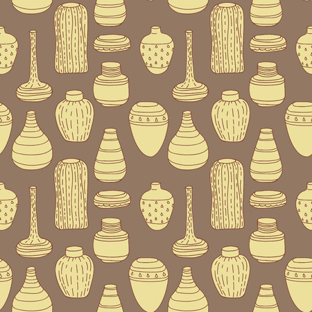 decorative urn: Vector handmade vase pattern perfect for textile design, web design, creating backgrounds, wallpapers and decorating interiors. Illustration