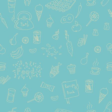 peper: Vector doodle food elements pattern. Doodle pattern with cooking elements hand drawn for web design, textile design, wallpapers and backgrounds.