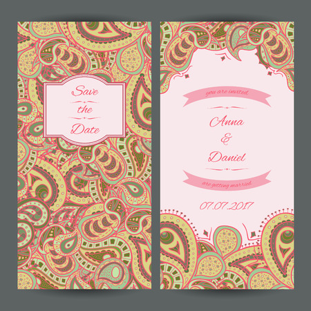 Vector paisley spring templates perfect for romantic design, weddings, announcements, greeting cards, posters and advertisement.