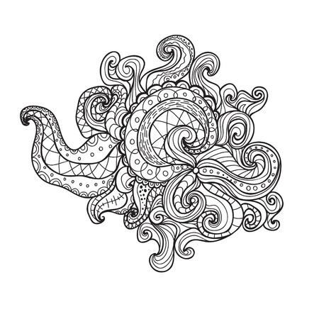 spiral book: Vector spiral doodle illustration. Coloring book for adult and children.Coloring page. Outline drawing. Illustration