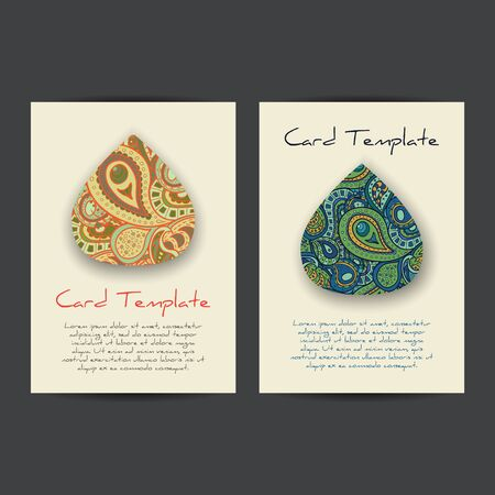 waterdrop: Vector card templates with paisley waterdrop and shadows. Templates with space for text, perfect for greeting cards, invitations, posters. Illustration