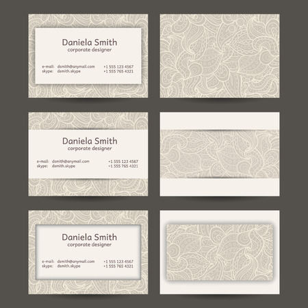 Vector Set Of Vintage Business Card Template Designs Royalty Free