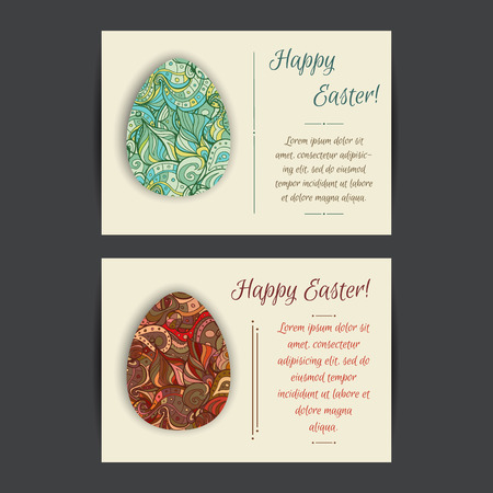 Happy Easter holiday card templates. Set of two card template designs, perfect for brochure covers, leaflets, flyers, cards and invitations. Stock Illustratie