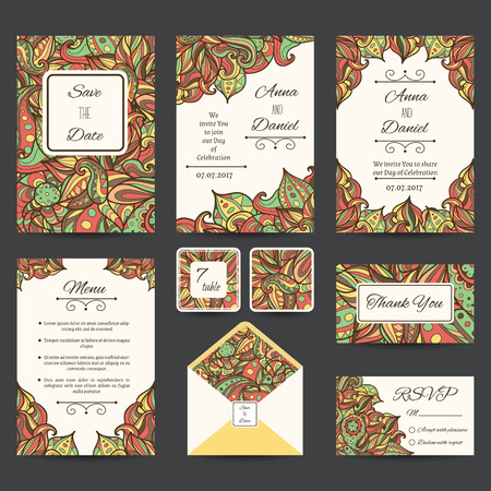 suite: Full vector paisley wedding templates perfect for romantic design, weddings, announcements, greeting cards, posters and advertisement. RSVP and envelope templates are included.