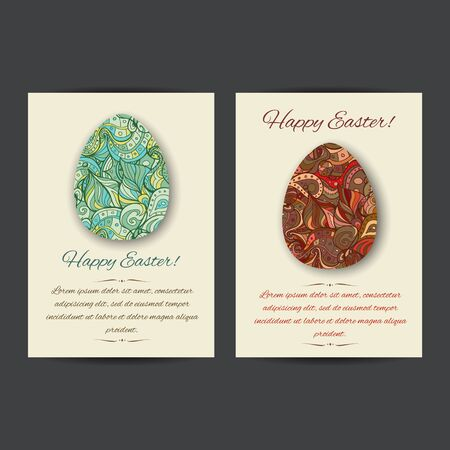 annoucement: Happy Easter holiday card templates. Set of two card template designs, perfect for brochure covers, leaflets, flyers, cards and invitations. Illustration