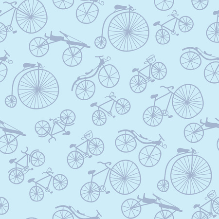 velocipede: Vector small doodle bicycles pattern perfect for textile design, web design, creating backgrounds, wallpapers, scrapbooking and decorating interiors. Illustration
