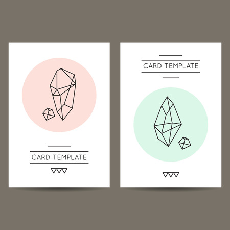 Set Of Vector Hipster Card Templates With Crystal Like Geometric ...
