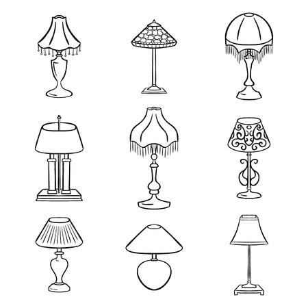 Set skizzierte Tischlampen mit Schirmen. Vektor-Illustration. Set von isolierten schwarz konturierte Objekte auf weißem Hintergrund. Vektorgrafik