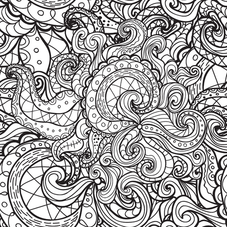 abstract doodle: Vector doodle seamless pattern. Coloring book for adult and children.Coloring page. Outline abstract wavy drawing.