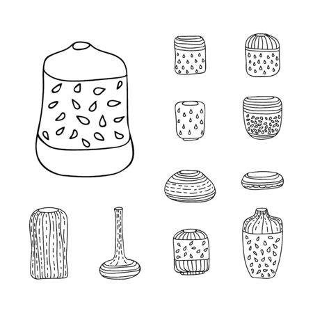 contoured: Set of sketched boho primitive vases. Vector illustration. Set of isolated black contoured objects on white background.