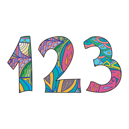 three objects: Doodle numbers set. Isolated objects on white background. Vector illustration. One,two, three numbers. Illustration