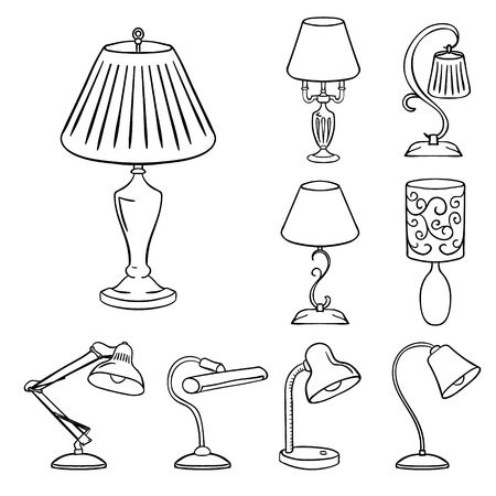 contoured: Set of sketched table lamps with lampshades. Vector illustration. Set of isolated black contoured objects on white background.