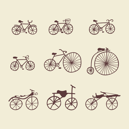railcar: Set of doodle bicycles. Vector illustration. Ioslated objects clipart. Retro and modern bycicles. Vntage and contemporary bikes. Antique trolley. Illustration