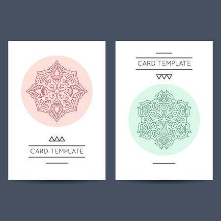 Set of two card template designs, perfect for brochure covers, leaflets, flyers, cards and invitations. Vector illustration. Mandala signs. Stock Illustratie