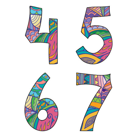 six objects: Doodle numbers set. Isolated objects on white background. Vector illustration. Four, five,six, seven numbers. Illustration