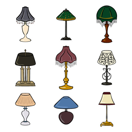 contoured: Set of colored sketched table lamps with lampshades. Vector illustration. Set of isolated colored black contoured objects on white background.