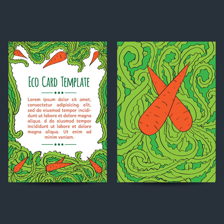 Set of two universal card template designs, perfect for eco,vegetarian, healthy food brochure covers, leaflets, cards and invitations. Green, eco. Isolated vegan fair event announcement card.