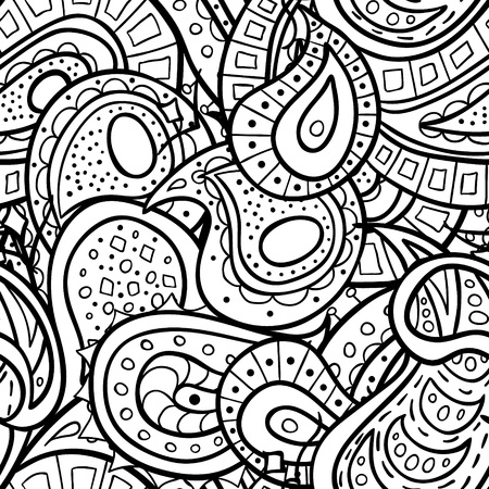 abstract doodle: doodle seamless pattern. Coloring book for adult and children.Coloring page. Outline abstract wavy drawing.