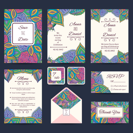 suite: Full paisley wedding templates perfect for romantic design, weddings, announcements, greeting cards, posters and advertisement. RSVP and envelope templates are included.
