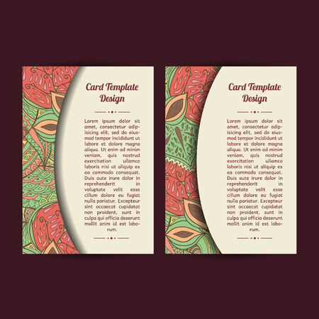 Set of two universal peachy card template designs, perfect for brochure covers, leaflets, cards and invitations. Spring or summer season theme cards. Stock Illustratie